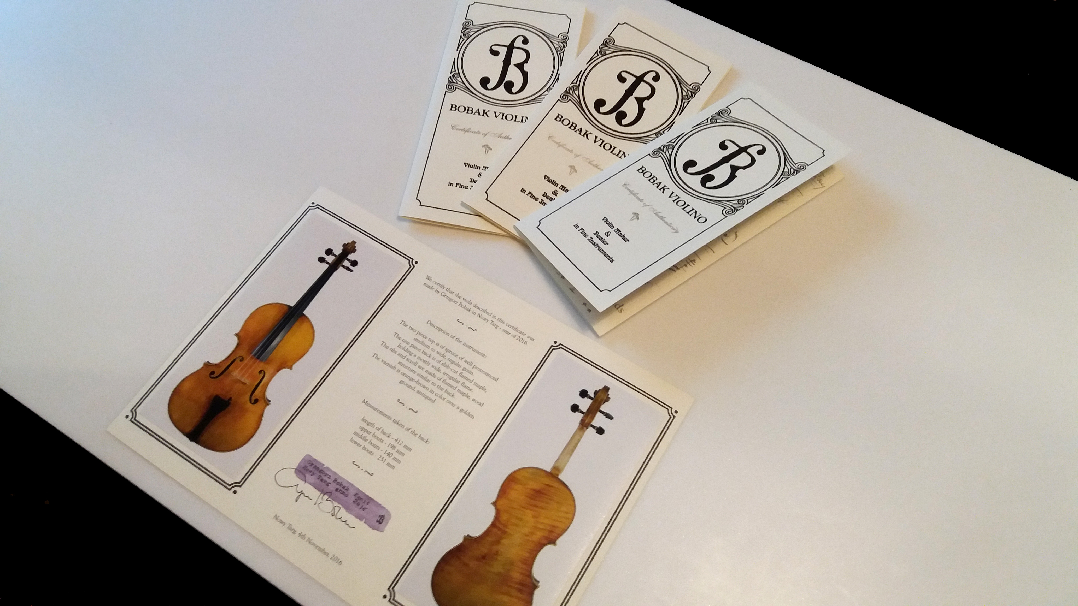 Violin Certificate of Authenticity